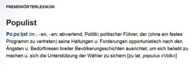 Wissen_de-Erklärung uzu Populist