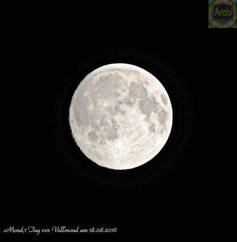 Mond,1 Tag vor Vollmond am 18.08.2016